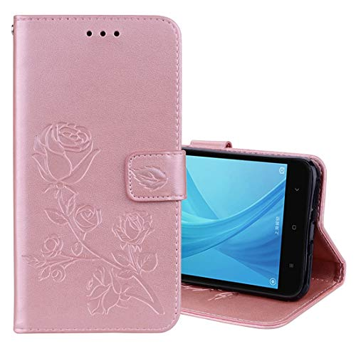 JIAHENG Caja del teléfono For Xiaomi Redmi Note 5A Pro/Prime Roses, Flores prensadas, Funda de Cuero con Tapa con Soporte, Ranuras for Tarjetas y Cartera (Negro) Cubierta de Cuero