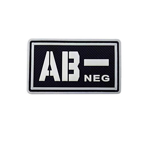 Cobra Tactical Solutions Blutgruppe AB- NEG Military PVC Patch mit Klettverschluss für Airsoft Cosplay Paintball für Taktische Kleidung Rucksack (Schwarz/Weiß, AB-)