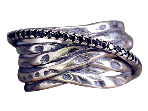 NicoWerk Damen Silberring Gewickelt aus 925 Sterling Silber Breit Verflochten Draht Mehrreihig Vintage mit Stein Verstellbar Offen SRI329