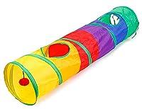 MaruPet(マルペット) ペットのおもちゃ キャットトンネル おもちゃ付き プレイトンネル 猫 トンネル 1道 みつまた 折りたたみ式 D-カラフル Free