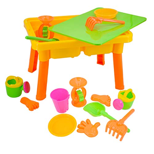 deAO Basic Sand and Water Table with Lid for Toddlers Including Assorted Accessories