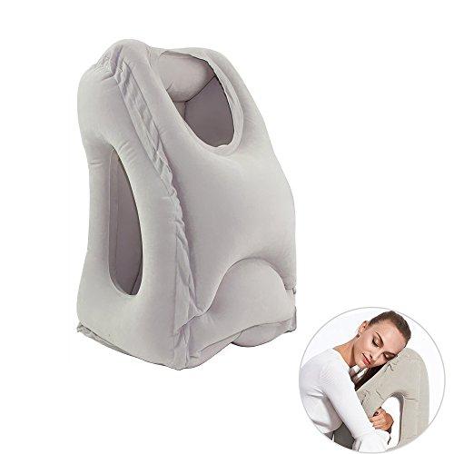 MCUILEE - Almohada inflable para el cuello, ligera y rápida para dormir en el avión, tren, coche, casa, camping, oficina, almohada de siesta