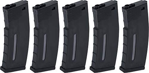 Evike BAMF 190rd Polymer Mid-Cap Airsoft Magazine for M4 / M16 Series AEG Rifles (Color: Black / x5 Package)
