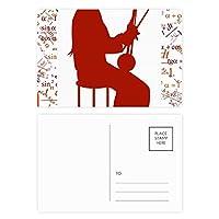中国の二胡奏者イラストパターン 公式ポストカードセットサンクスカード郵送側20個