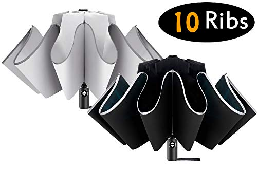 ZOORON 2 Pack Inverted Umbrella Compact Windproof Collapsible 10 Ribs Auto Open & Close Folding Small Travel Reverse Umbrella (2pack Black+Gray)