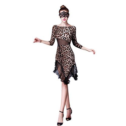 [L-night]ラテンダンス衣装 豹柄 フリンジ ワルツラテンドレス 練習着 演出服 発表会用ダンスウェア ラテンワンピース 社交ダンス衣装 フラメンコ衣装 ベリーダンス衣装(XL)