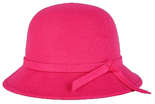 None Mützen Glockenhut Damen Elegante Runde Mädchen Melone Hut Mit Bowtie Winter Filzhut Klassisch Bowler Hut 6 Farben Caps (Color : Rosenrot, Size : One Size)