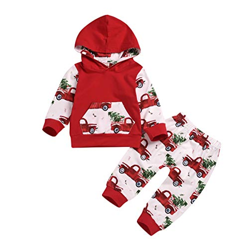 ZOELNIC Baby Girls Boys Christmas Outfit Hooded Pocket Tops + Plaid Pants Clothes Set (Red 2, 0-6m(70))