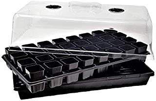 32 Cell Seed Starter Kit w/Inserts Extra Strength - 10 of Each - Cell Dome and Flat - Seedling Planting Insert Plug Tray, Rockwool, Soil & Hydroponics Plant Growing Plugs by Bootstrap Farmer