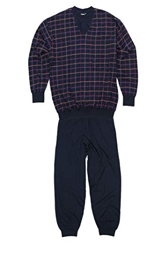 ADAMO Langer Pyjama Übergrößen, Serie 'Donald', Navy kariert, Größe:8XL