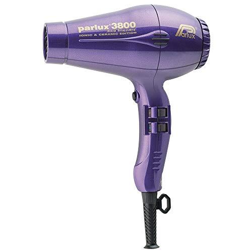 Parlux 3800 EcoFriendly, Asciugacapelli con tecnologia ceramica e ionica, 2100 Watt, include Diffusore e Concentratore aria, Viola