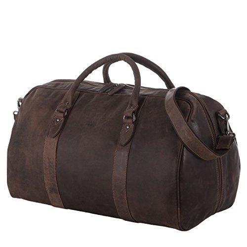 Rada Nature hochwertige Reisetasche aus echtem Leder, edler und robuster Weekender, Metallfüße, Sport/Bussinesstasche