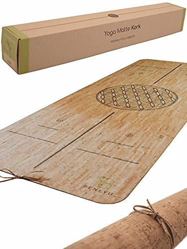 beneyu ® Langlebige & rutschfeste Kork Yogamatte (190x70cm) - Premium Made in EU - Schadstofffreie Yogamatte für Anspruchsvolle und Profis