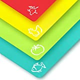 Plastic Cutting Boards for Kitchen - Quality Thin Cutting Mat Set 4 Color - Flexible & Perfect for Chopping Meats, Vegetables, Beef, Fish, Chicken - Food Icons - Extra Large by Zulay Kitchen