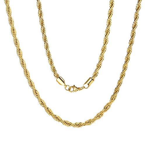 ChainsPro Cordón Tranzado de Collar 3mm 20 Inch Largo Acero Inoxidable Oro Amarillo Real Joyería Gruesa Fina para Masculino y Femenino
