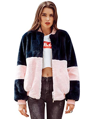 MsLure Damen Winter Bomberjacke Kurz Kontrast Mantel Oberbekleidung Herbst Kunstpelz Mit Reißverschluss, Rosa, EU 38/M