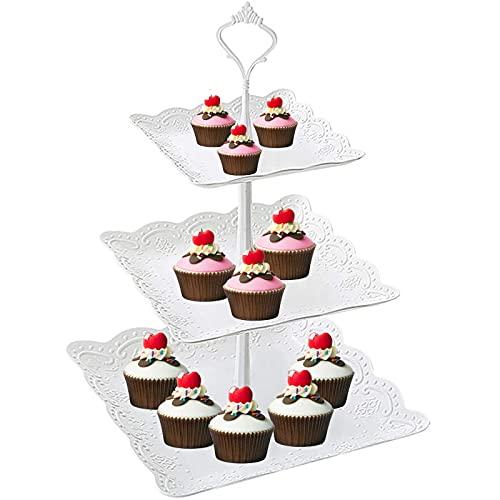 Chytai Expositor para tartas, postres o fruta de 3 pisos en color blanco