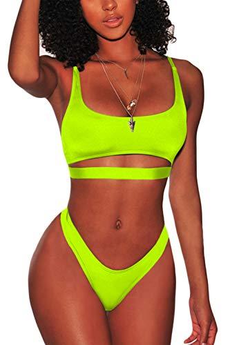 FAFOFA Womens Sexy Bikini Sets Low Scoop Neck Spaghetti Straps Cut Out Underboob Crop Top High Cut Cheeky Bottom 2PCS Swimsuit Beachwear Lemon Green S