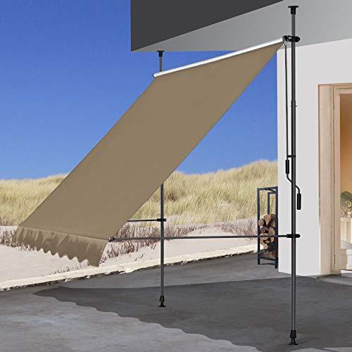 QUICK STAR Klemmmarkise 300x130cm Beige Balkonmarkise Sonnenschutz Terrassenüberdachung Höhenverstellbar von 200-290cm Markise Balkon ohne Bohren