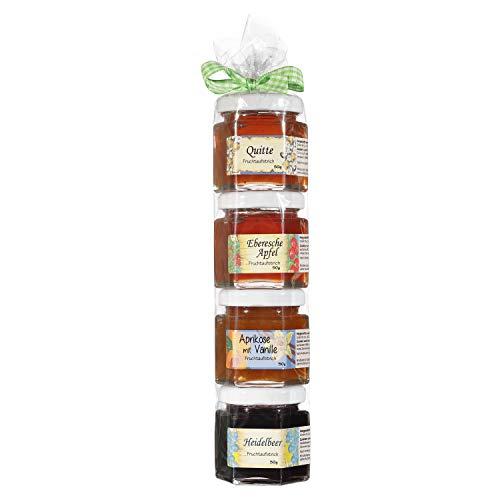 Marmeladen Geschenkrolle - Konfitüre Fruchtaufstrich Geschenk Set aus dem Allgäu - 4 x 50g Hausgemachter Fruchtaufstrich - Geschenk für Marmelade Liebhaber