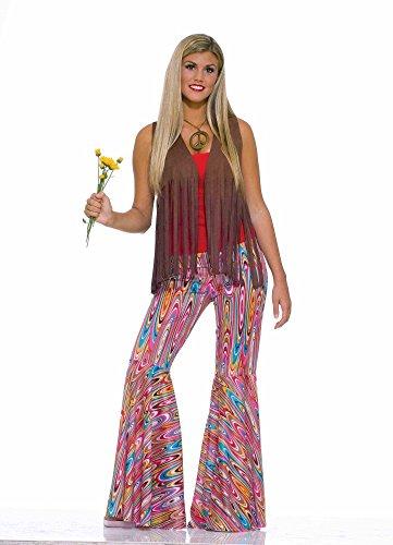70er Jahre Hippie Schlaghose Pink/Türkis Wild Swirl Retro-Muster Gr. S Hose Damen-Kostüm