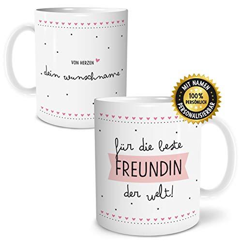 OWLBOOK Beste Freundin Große Kaffee-Tasse mit Spruch im Geschenkkarton Personalisiert mit Namen Geschenke Geschenkideen für die Beste Freundin zum Geburtstag Weihnachten