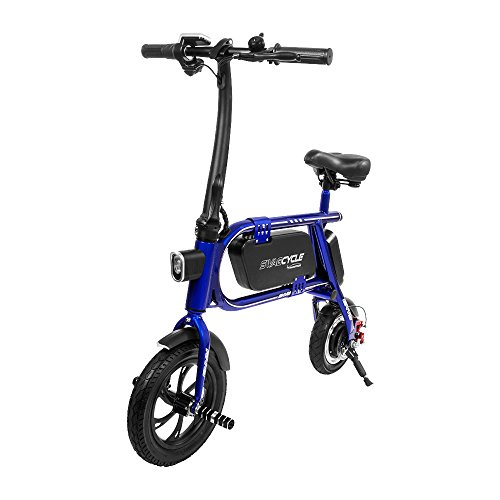Swagtron 200W SWAGCYCLE Envy Steel Frame Folding Electric Bicycle e Bike w/Automatic Headlight –...
