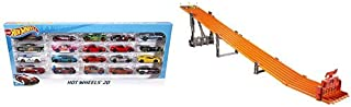 Hot Wheels 20 Car Gift Pack (Styles May Vary) AND Hot Wheels Super 6-lane Raceway