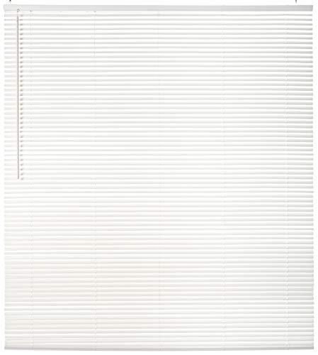 "Chicology Horizontal Venetian Slat Window Shade Cordless 1-Inch Mini Blinds 58""W X 64""H Gloss White (Commercial Grade)"