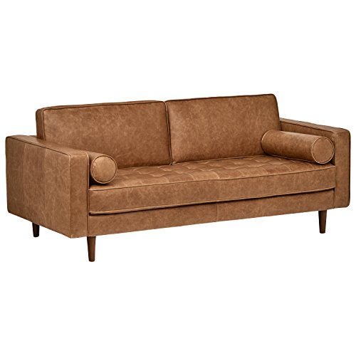 "Rivet Aiden Tufted Mid-Century Modern Leather Bench Loveseat Couch Sofa, 74""W, Cognac"