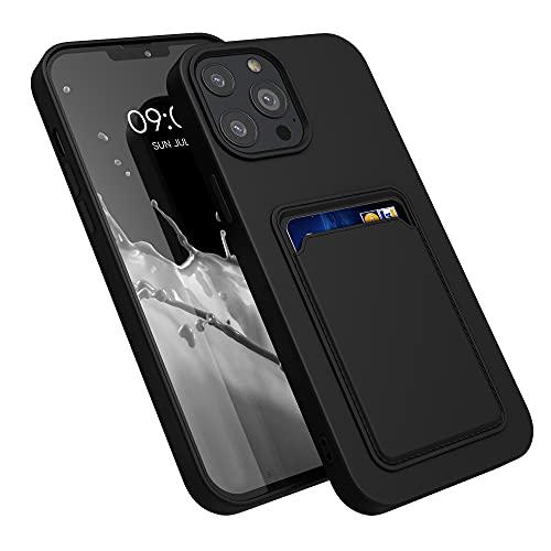 kwmobile Funda con Tarjetero Compatible con Apple iPhone 13 Pro MAX - Carcasa Protectora de TPU Suave - Negro