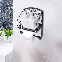 LONGJUAN-C 紙巻器 ホーム浴室のトイレットペーパー収納棚レトロな紙タオルストレージラッククリエイティブアイアントイレロール紙ホルダー トイレットペーパーホル