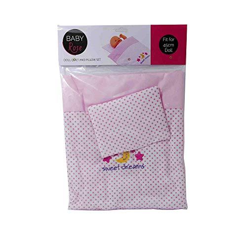 Johntoy 27537 Baby Rose Puppen Decke und Kissen-Set