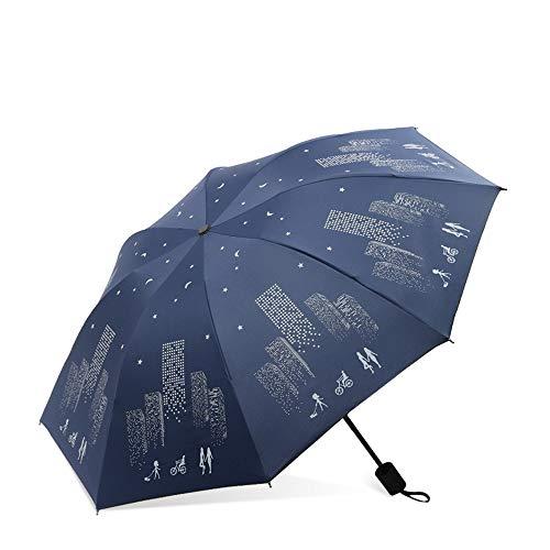 NKJH Equipo de Salida Metro Travel Umbrella Resistente al Viento for Rain Sun Compact Anti UV Unbreakable Mango ergonómico irrompible Equipo de Lluvia (Color : Blue, Size : Free)
