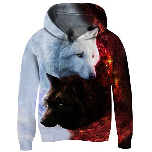 chicolife Wolf Gedruckt Hoodies 3D Kapuzenpullover Cool Tier Pullover Vlies Langarm Sweatshirts mit Großen Taschen für Kinder, Weiß/Schwarz