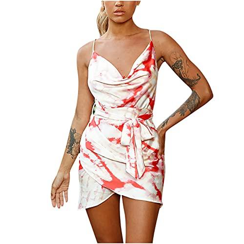 Zzbeans Vestidos de verano para mujer, cortos, veraniegos, con estampado, escote en V, vestido corto y sexy, con cinturón, sin mangas, para la playa, Mujer, rojo, small