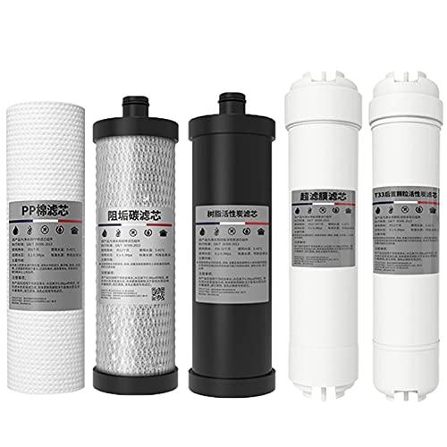 LITINGT Elemento filtrante Kit de Filtro purificador de Agua de Cinco etapas, Equipo de Elemento filtrante purificador de Agua de Repuesto con Filtro de Agua de Membrana de ultrafiltración, para sis