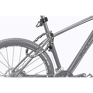 ROCKBROS Candado de Bicicleta Plegable Cerradura de Cadena Antirrobo de Combinación Bloqueo de Contraseña/con Llave Alta Seguridad para Bicis Ebike como Rubik