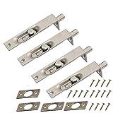 2 coppie NUZAMAS Bullone di scarico per porta da 4 pollici (10 cm) - Leva del bordo porta in acciaio inossidabile per impieghi gravosi Chiusura con chiavistello scorrevole, Porte secondarie primarie