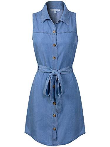 Design by Olivia Women's Classic Sleeveless Denim Chambray Button Down Shirt Dress Blue L