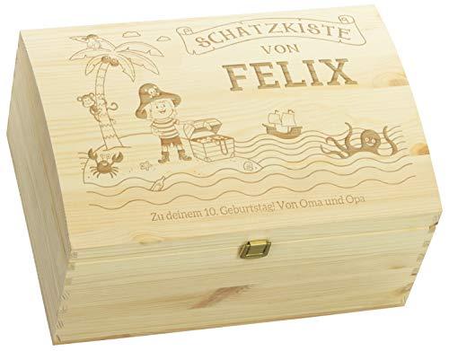 LAUBLUST Holztruhe mit Gravur - Personalisiert mit ✪ Name   WIDMUNG ✪ - Natur, Größe L - Piraten Motiv - Schatztruhe mit Verschluss zum Verschenken