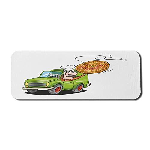 Pizza Computer Mouse Pad, humorvolles Cartoon-Bild des Mannes im Auto mit Schnurrbart und Kochmütze liefern Lebensmittel, Rechteck rutschfeste Gummi-Mauspad große mehrfarbig