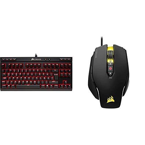 Corsair K63 Mechanische Gaming Tastatur (Cherry MX red: Leichtgängig und Schnell, Qwertz) schwarz & M65 PRO RGB Optisch Gaming Maus (RGB-LED-Hintergrundbeleuchtung, 12000 DPI) schwarz