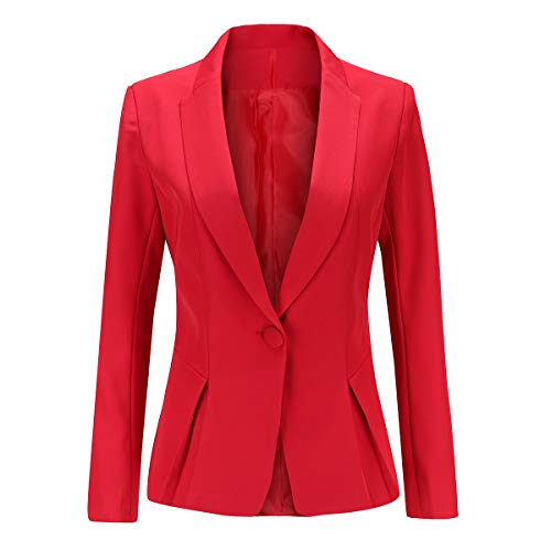 YYNUDA Blazer Femme Tailleur Manches Longue Chic Business Officier Cardigan Veste Blazer,Rouge,S