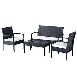 Ensemble Salon de Jardin 4 Places : canapé, 2 fauteuils et Table Basse Plateau Verre trempé résine tressée 4 Fils…