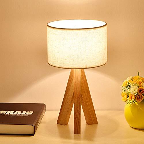 Stoff-Tischlampe/japanisches Original aus Holz/Schlafzimmer/Wohnzimmer/Arbeitszimmer/Augenschutz/Dekoration/Nachttischlampe (white)
