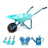 Colwelt Kids Wheelbarrow 6Pcs, Steel Wheelbarrow for Kids with Kids Metal Watering Can, Kids Gardening Tools and Kids Gloves(Blue)