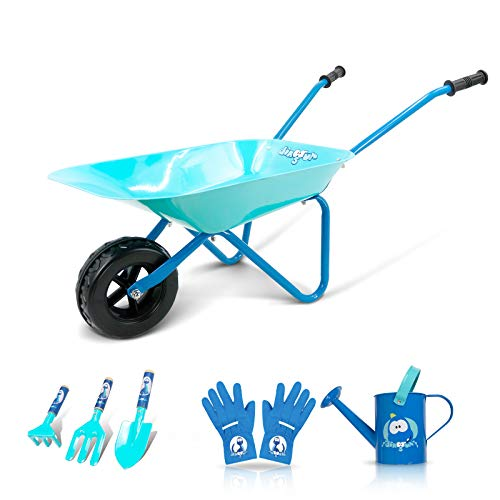 Colwelt Kids Wheelbarrow 6Pcs, Steel Wheelbarrow for Kids with Kids Metal Watering Can, Kids Gardening Tools and Kids Gloves(Blue)
