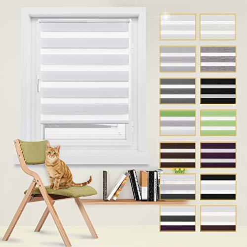 Doppelrollo, Rollo, Seitenzugrollo Easyfix, Klemmfix ohne Bohren, Sonnen- und Sichtschutz für Fenster und Tür, Gardinen Rollos, Weiß, 55 x 150 cm