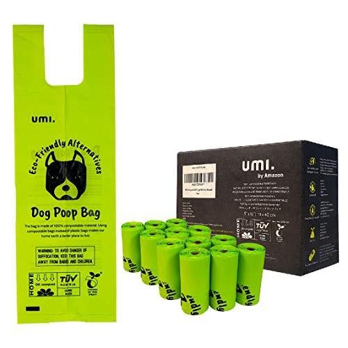 Umi Amazon Brand Sacchetti Igienici Biodegradabili per Escrementi Cane - Origine Vegetale, Compostabili a Casa, Privi di Microplastica, Anti Perdita - 13 x 40 cm con Manici, Ricarica da 120